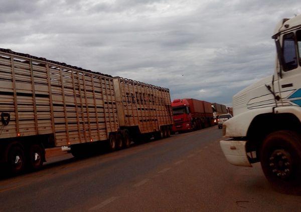 Caminhoneiros trancam BR-163 em Mato Grosso em protesto ao frete e óleo diesel