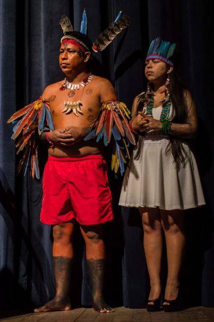 Libério e  Lucimara Patté durante o Encontro Nacional dos Estudantes Indígenas (Foto: Arquivo Pessoal)