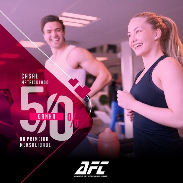 Academia AFC oferece 50% de desconto na mensalidade dos casais no mês de junho