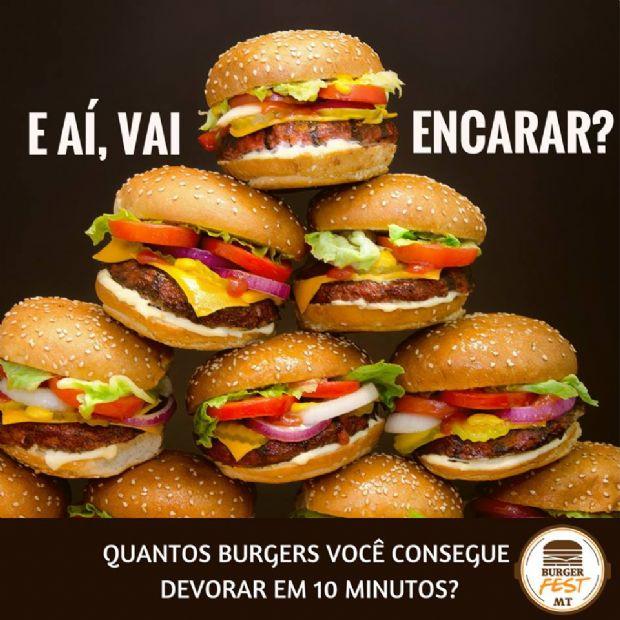Festival de hambúrguer de Cuiabá vai dar prêmio em dinheiro para quem comer mais em 10 minutos