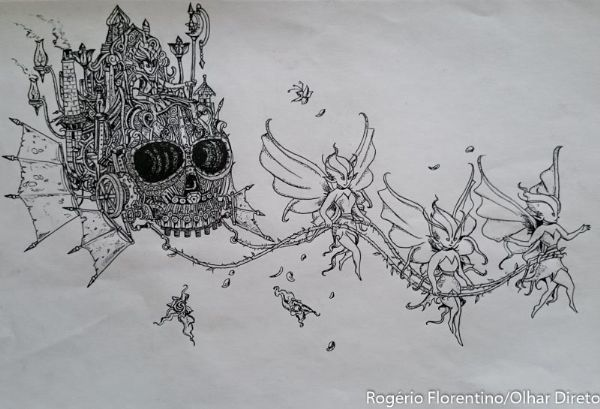 Apenas com visão periférica, artista cuiabano faz desenhos incríveis com diversas técnicas