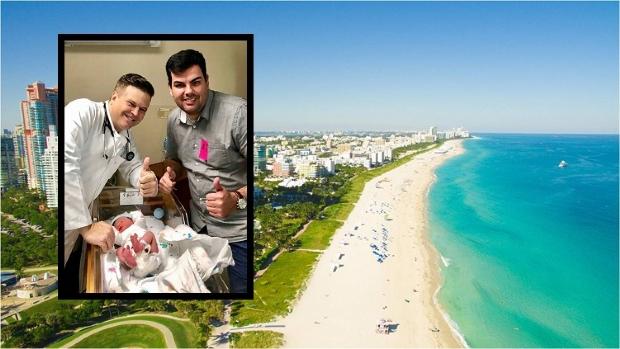 O empresário Tiago (dir.) é um dos cuiabanos que viajou para Miami para ter seu filho