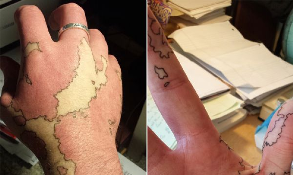 Homem transforma marca de nascença em incrível mapa imaginário