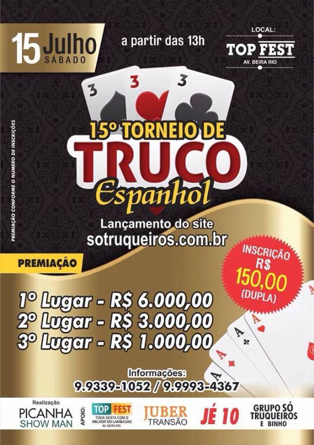 Torneio de truco espanhol tem R$10 mil em prêmios e churrasco 'na faixa' a tarde toda