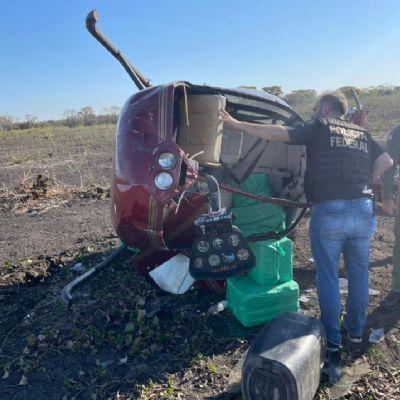 Helicóptero carregado com 280 quilos de cocaína cai em MT; droga avaliada em quase R$ 7 milhões