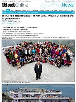 Marido com 39 esposas, 94 filhos e 33 netos tem maior família do mundo