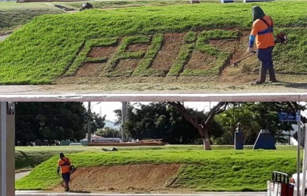 Após bullying, prefeitura parabeniza jardineiro que escreveu errado em grama; post viraliza