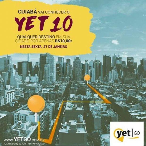 Yet Go levará passageiros por R$ 10 reais para qualquer destino de Cuiabá na sexta-feira