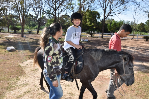 Projeto de equoterapia em Cuiabá auxilia 164 crianças e vagas devem ser ampliadas