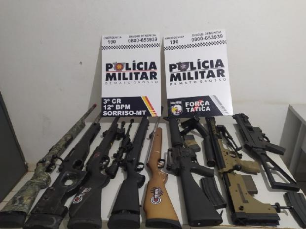 PM recupera nove armas Airsoft, cofre e caminhonete furtados em região de chácaras