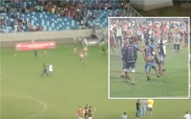Briga na final do Peladão teve início após torcedores mostrarem partes íntimas e provocarem adversários;  vídeos
