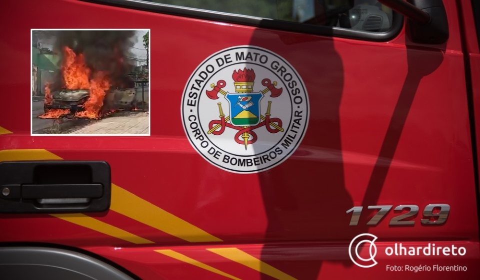 Bombeiros controlam incêndio em carro que pegou fogo em decorrência do calor; veja vídeos