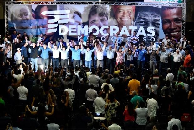 Ao lado de Mauro e Jayme, Leitão diz que PSDB tem que respeitar candidatura do DEM