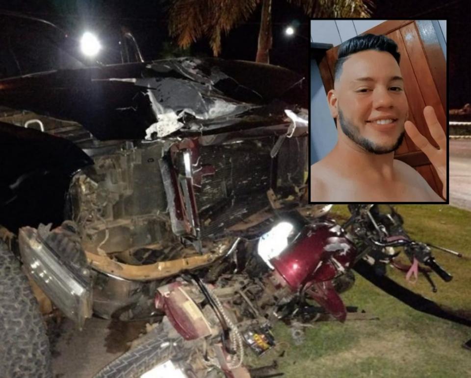 Jovem de 22 anos morre após colisão violenta entre moto e caminhonete;  Vídeo