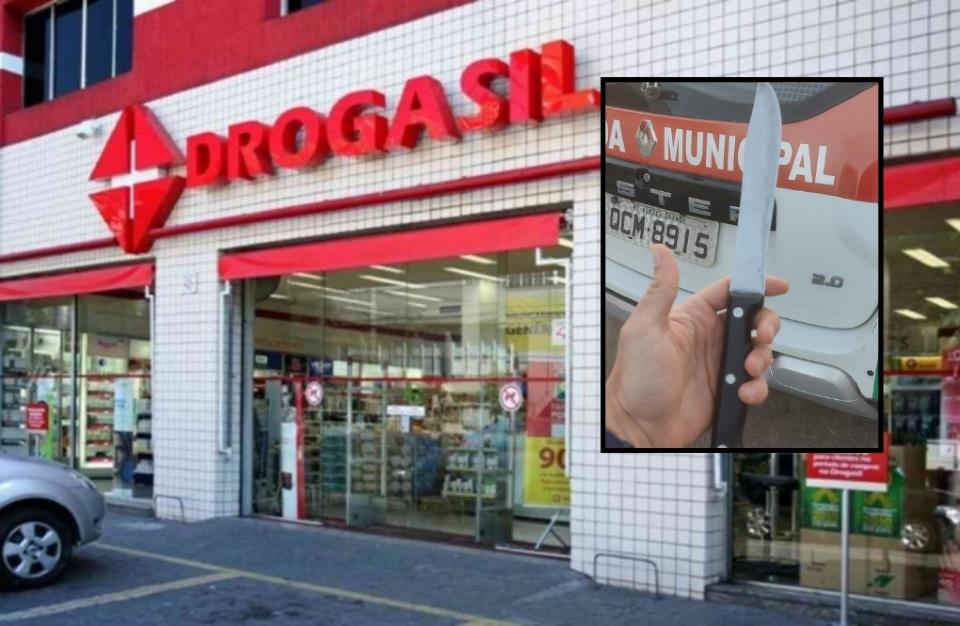 Homem é preso após invadir e ameaçar clientes com uma faca na farmácia Drogasil