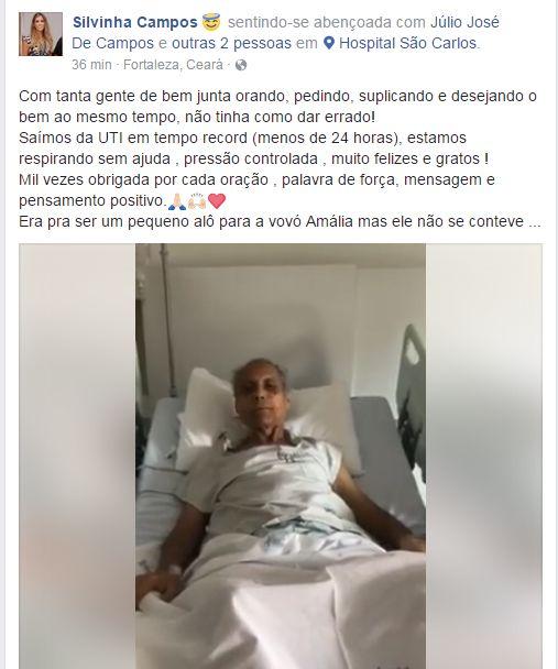 Júlio Campos deixou a UTI e está em apartamento, no Hospital São Carlos, em Fortaleza