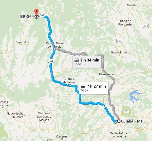 Local fica a 104 km de Sapezal, 120 km de Brasnorte e 140 km de Campo Novo do Parecis