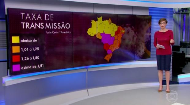 Jornal da Globo mostra Centro-Oeste com maior taxa de transmissão de Covid-19 no país