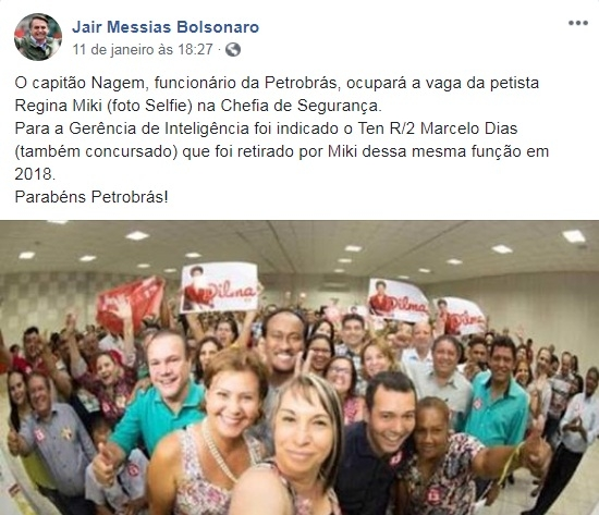Bolsonaro posta selfie de petista exonerada da Petrobrás com políticos de Mato Grosso