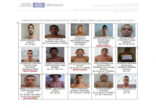 Sejudh divulga fotos de presos que fugiram de presídio após explosão de muro;  veja
