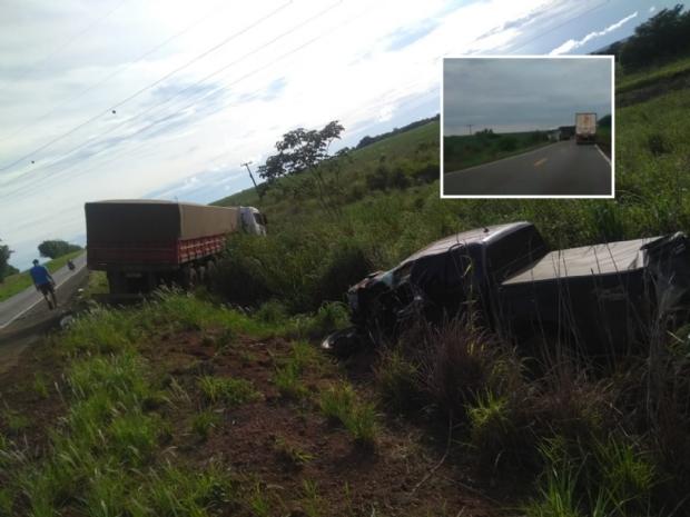 Vídeo flagra acidente entre Hilux e duas carretas em rodovia de Mato Grosso;  veja