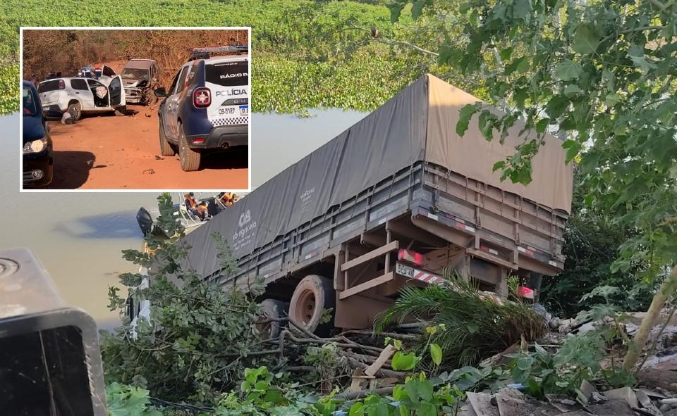 Caminhão cai no Rio Paraguai e Hilux bate de frente com Uno durante perseguição em cidade de MT; veja vídeo