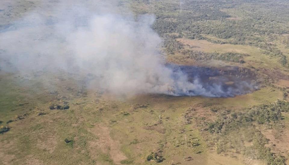 Incêndio florestal é registrado na Baía dos Guatós no Pantanal pela segunda vez no mês; veja vídeo