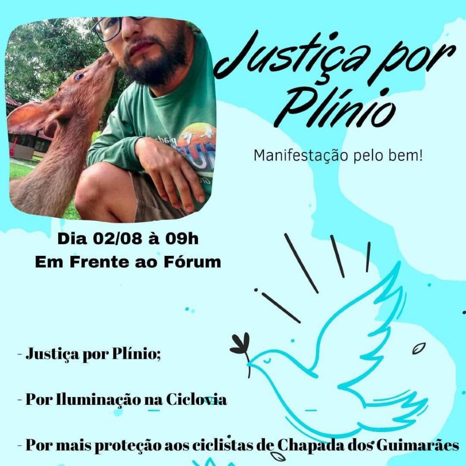 Manifestação em Chapada dos Guimarães pede justiça por morte de guia de turismo e cobra proteção a ciclistas