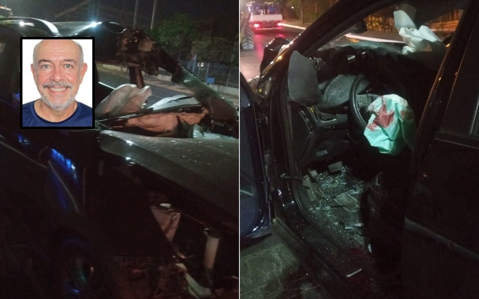 Ex-candidato a vereador é socorrido em estado grave após bater IX35 em trator na avenida Miguel Sutil
