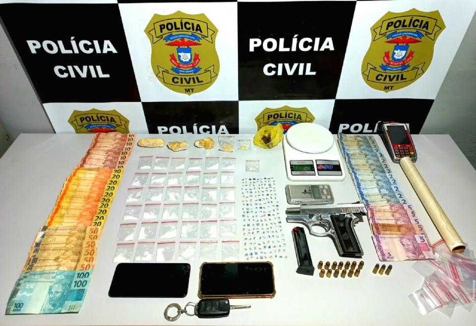 Dupla é presa com LSD, ecstasy, arma e R$ 1 mil em dinheiro próximo a escola