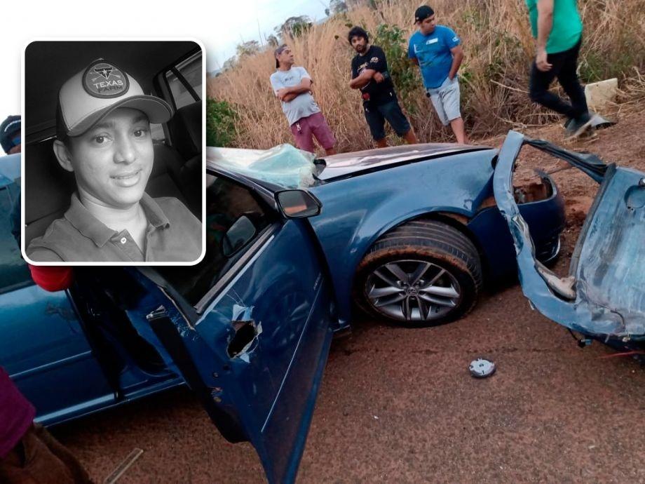 Colisão entre Golf e caminhão deixa um morto e pista bloqueada após tombamento