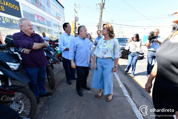 Pedro Taques e Lucimar Campos visitaram obras, em Várzea Grande, sem a presença de Jayme Campos