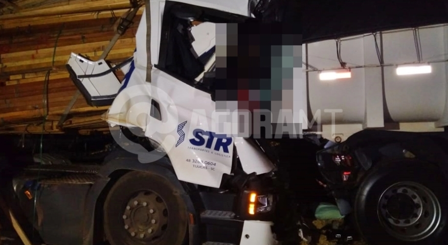 Motorista de caminhão bate em veículo parado e morre esmagado pela própria carga que transportava