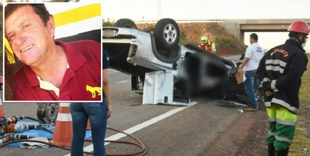Idoso de 62 anos dorme no volante e morre ao capotar caminhonete S10
