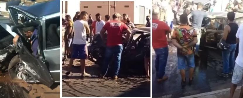 Vítima fica presa às ferragens em acidente entre dois carros em VG;  Veja vídeos