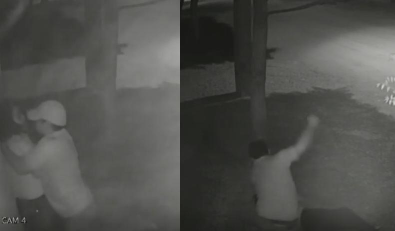 Câmera de segurança flagra homem espancando esposa no meio da rua em Mato Grosso