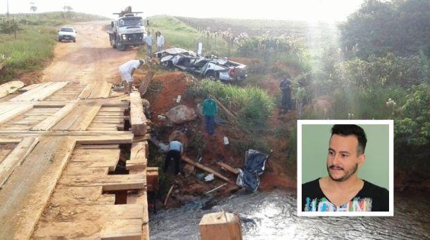 Cantor sertanejo fica preso à ferragens e morre após caminhonete cair de ponte em MT
