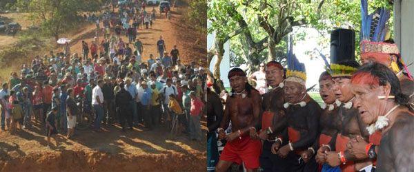 À esquerda, bloqueio realizado por posseiros contrários à demarcação da Funai; à direita, lideranças xavantes aliadas ao cacique Damião durante a Rio+20