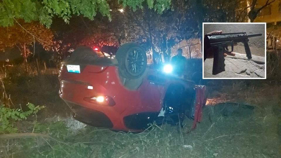 Criminoso troca tiros com guardas municipais e capota carro em Várzea Grande
