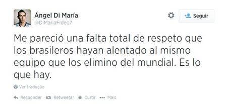 Perfil de Di María que criticou a torcida brasileira por apoiar os alemães é falso
