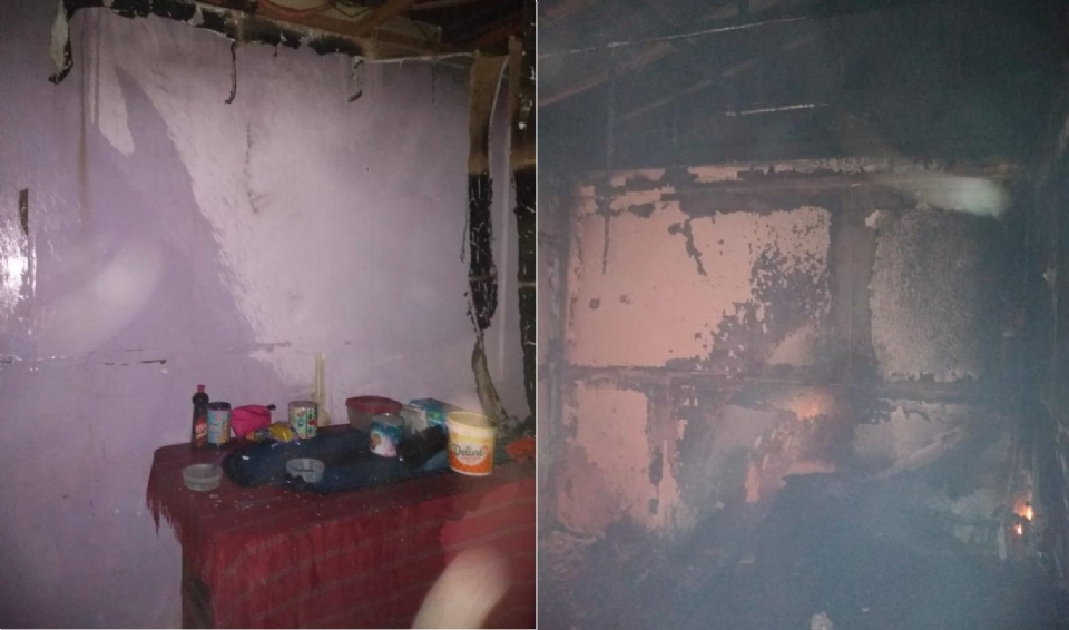 Casa com dez pessoas pega fogo e menores de 2 e 17 anos ficam feridos