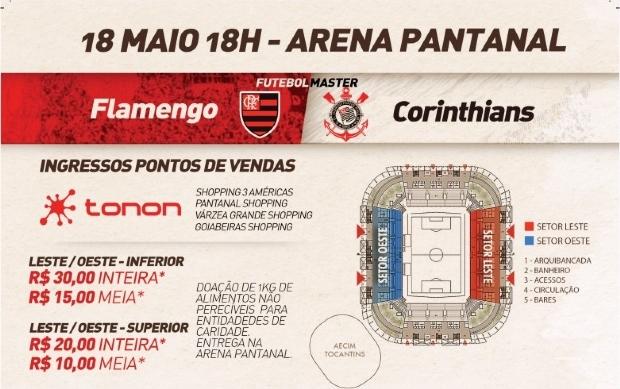 Amistoso entre Corinthians e Flamengo na Arena Pantanal é cancelado por falta de patrocínio