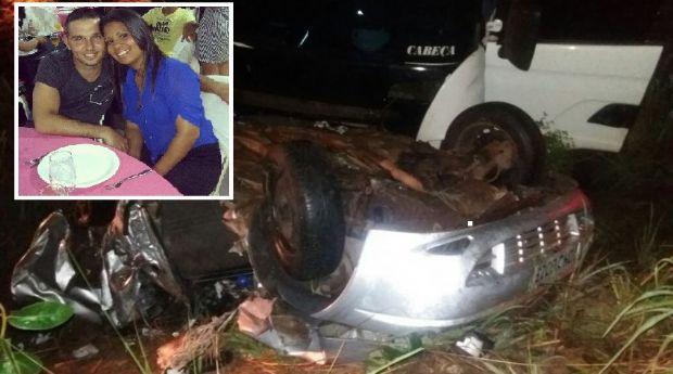 Casal que morreu esmagado após picape ser atingida por carreta deixa filho de dois anos
