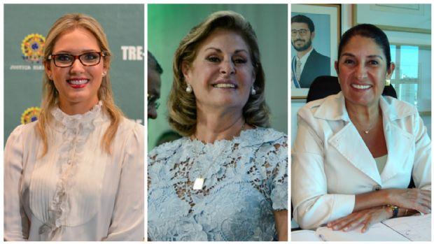 A deputada estadual, Janaina Riva (à esquerda); a prefeita de Várzea Grande, Lucimar Campos (no centro); e a prefeite de Chapada dos Guimarães, Thelma de Oliveira (à direita)