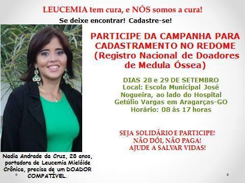 Ela conseguiu uma equipe do Hemocentro de Goiânia que virá a região dias 28 e 29/09