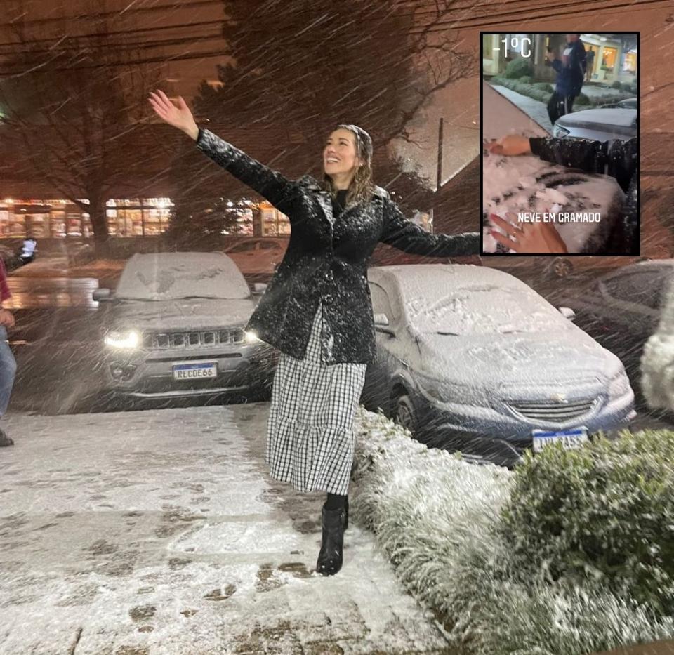 Influencer cuiabana chora de emoção ao presenciar queda de neve em Gramado;  veja vídeo