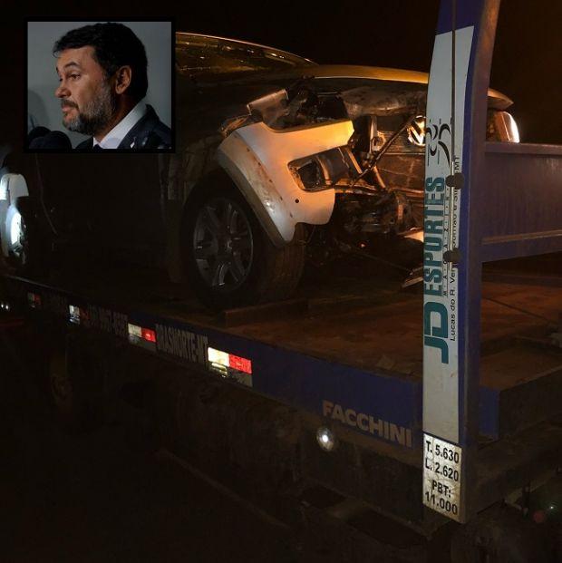 Picape de deputado estadual bate em ante em rodovia federal; parlamentar sai ileso de acidente