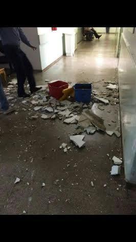 Parte do teto do Pronto-Socorro de Cuiabá despenca devido a infiltração