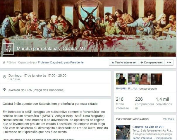 Página do evento em Cuiabá contava com pouco mais de 216 interessados.